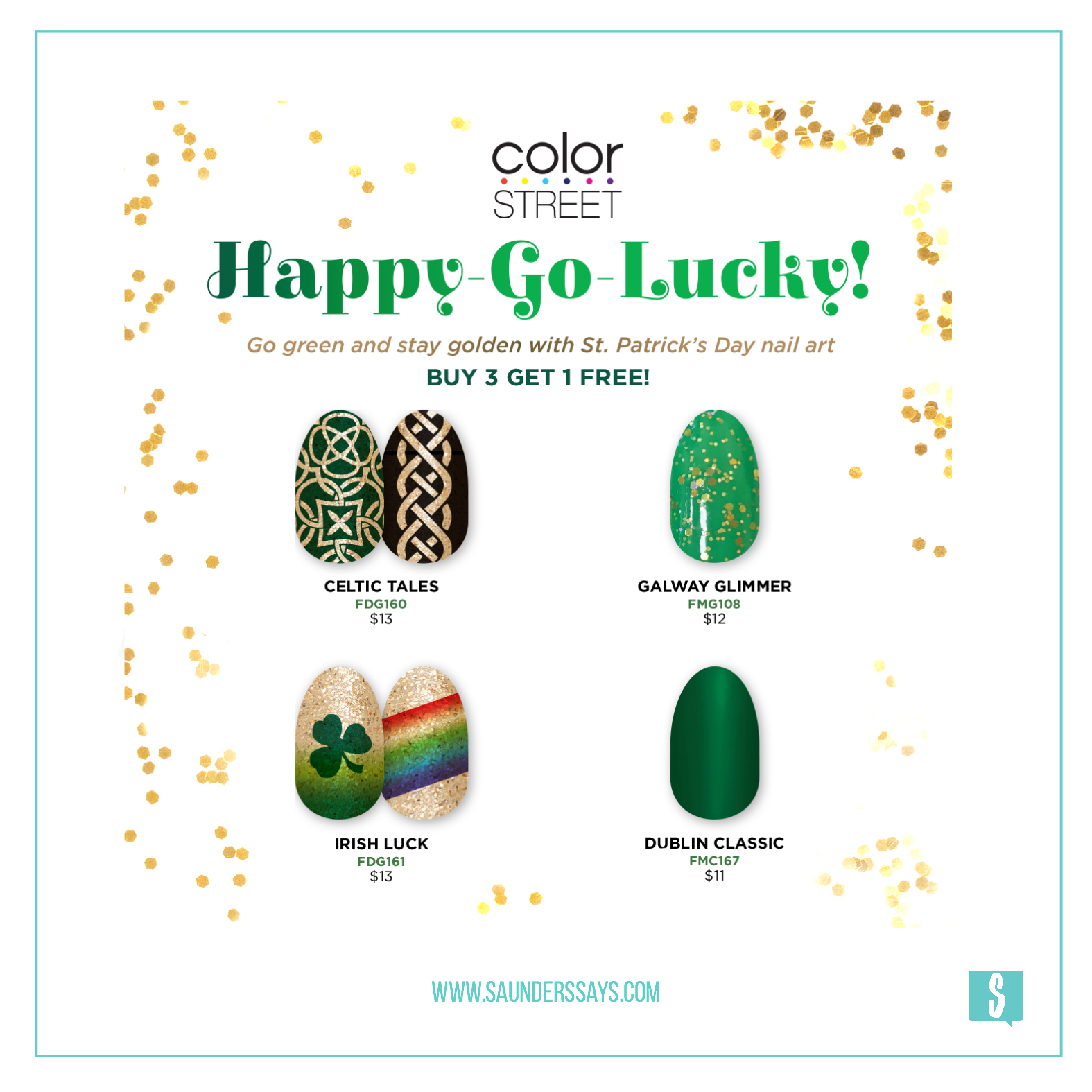 Color Street's Happy-Go-Lucky Collection for St. Patrick's Day! www.saunderssays.com #becolorstreet #greennails #happygolucky #stpatricksdaynails