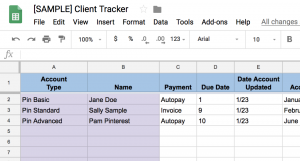 Pinterest Strategist client tracker google spreadsheet! This is what I use every single day to track my current Pinterest clients. #saunderssays #clienttracker #pinterest #pintereststrategist