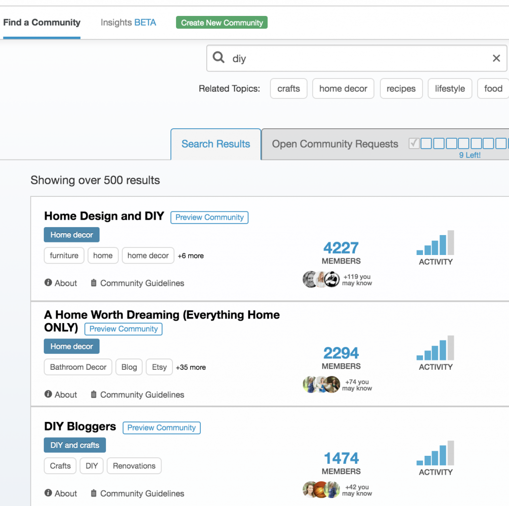 "Results for searching DIY on Tailwind Communities ""find a community"" feature"